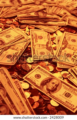 Burnt sienna colored money background - stock photo