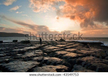Burren sunset - stock photo