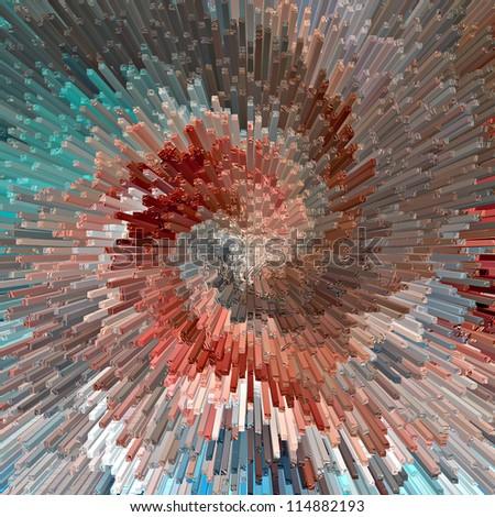 Burst. Abstract blue textured background. Illustration. - stock photo
