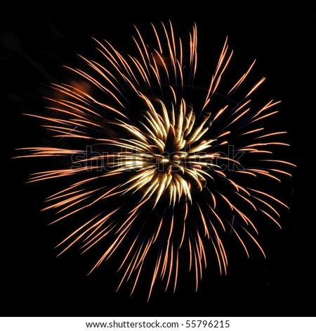 Burst of yellowish and reddish fireworks, with feathery interior and thin blue streaks, on square background - stock photo