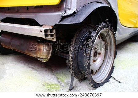 Burst tyre. - stock photo