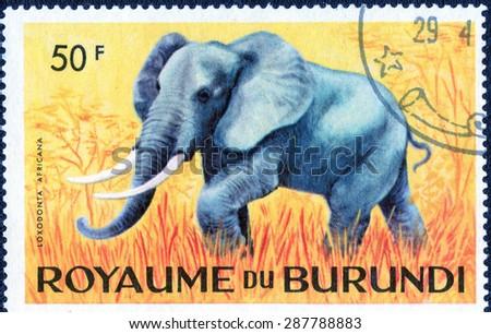 """BURUNDI - CIRCA 1974: A stamp printed by Burundi shows a series of images """"Animal  Africa"""", circa 1974 - stock photo"""