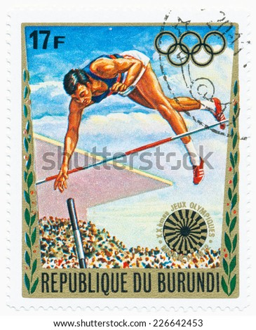 BURUNDI - CIRCA 1972: A stamp printed in Burundi shows Pole vault, series 20th Olympic Games, Munich, circa 1972 - stock photo