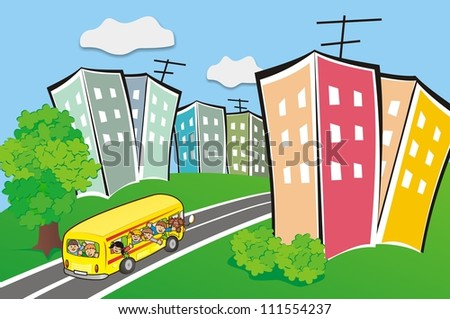 bus at the town - stock photo
