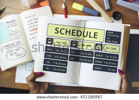 Bus Route Express Terminal Schedule Concept - stock photo
