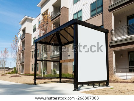 Bus shelter with  a copy space - stock photo