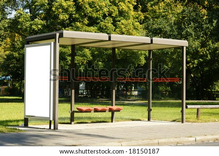 bus stop billboard - stock photo