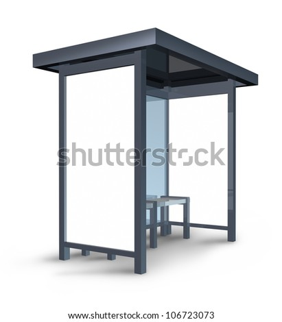 Bus stop billboard with blank posters for custom advertisements and marketing message in a built weather shelter structure on a white background. - stock photo