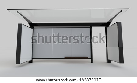 Bus stop / bus shelter / blank space for branding / 3D render / front view - stock photo