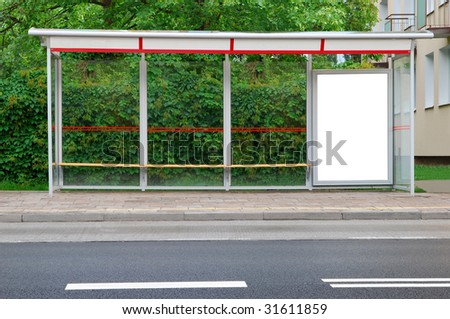 Bus stop in the street - stock photo