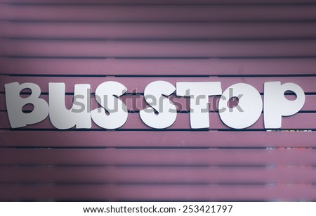 Bus stop sign - stock photo