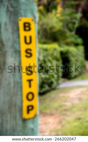 Bus stop sign in Blur style - stock photo