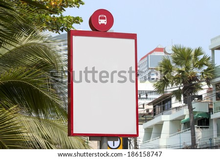 Bus stop with a blank billboard, shot in asia. - stock photo