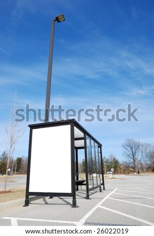bus stop with blank banner - stock photo
