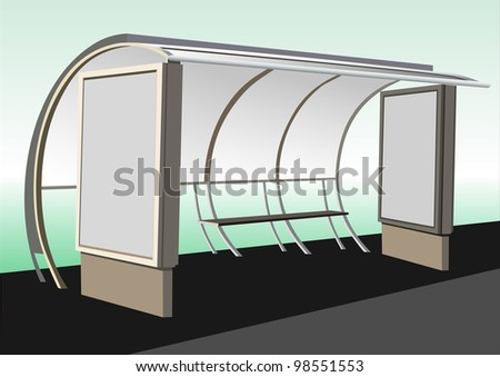 Bus stop with blank banners - stock photo