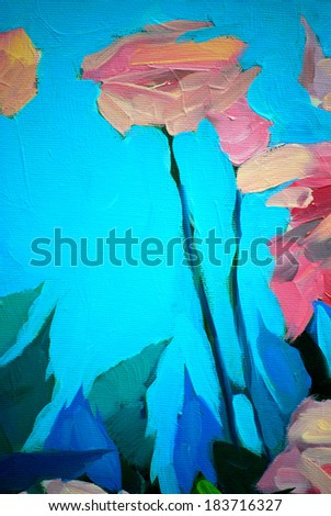 bush of fresh roses, painting by oil on a canvas, illustration - stock photo