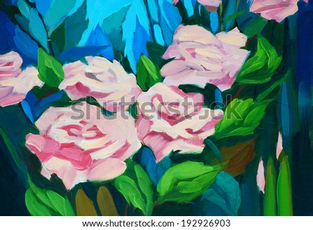 bush of roses, painting by oil on a canvas, illustration - stock photo