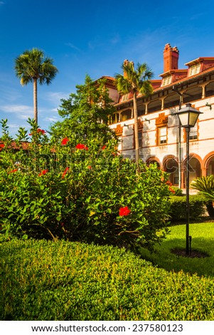 Bushes and building at Flagler College, in St. Augustine, Florida. - stock photo