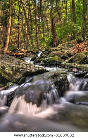 Bushkill Creek in the Pocono Mountains of Pennsylvania. - stock photo