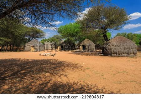 Bushman traditional african huts near Ghanzi, Botswana - stock photo