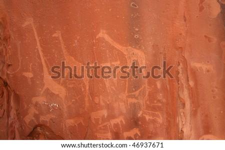 Bushmen Rock Engravings. Twyfelfontein. Namibia - stock photo