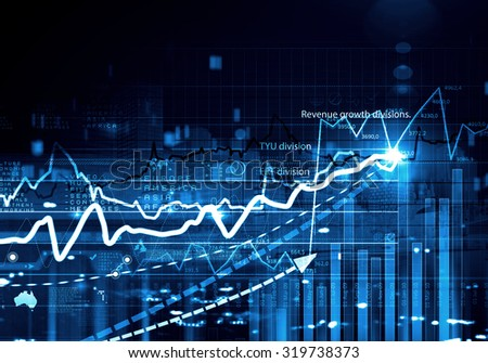 Business abstract image with high tech graphs and diagrams - stock photo