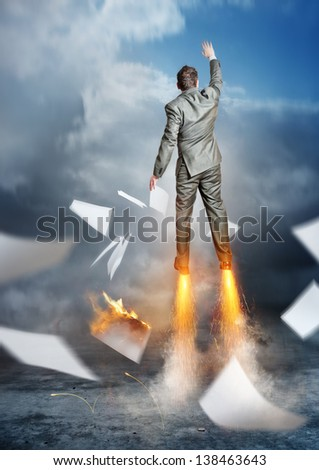 Business Accelerator. A businessman launching upwards. - stock photo
