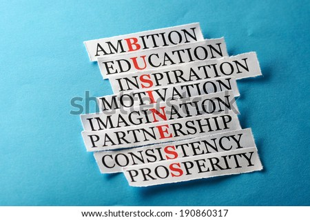 business  acronym in business concept, words on cut paper hard light - stock photo