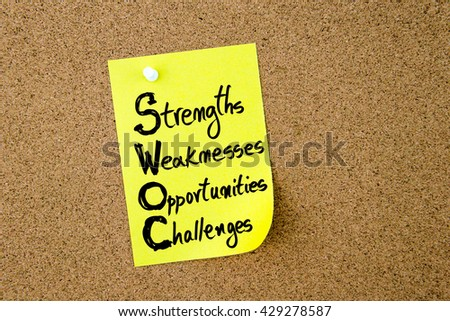 Business Acronym SWOC Strengths, Weaknesses, Opportunities and Challenges written on yellow paper note pinned on cork board with white thumbtack, copy space available - stock photo