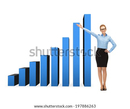 business, advertising and office concept - smiling businesswoman in eyeglasses showing growing chart - stock photo
