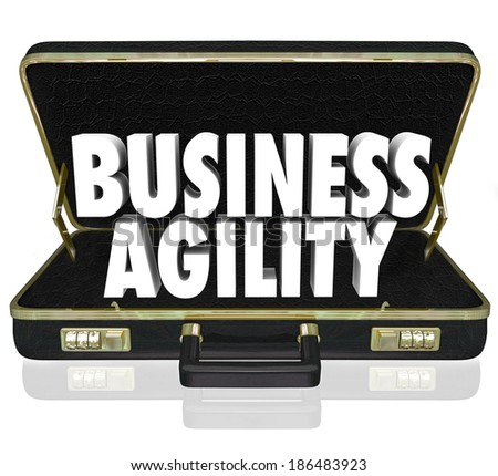 Business Agility Words Briefcase Presentation Proposal Adapt - stock photo
