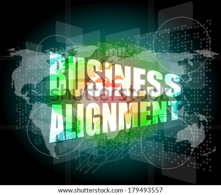 business alignment words on touch screen interface - stock photo
