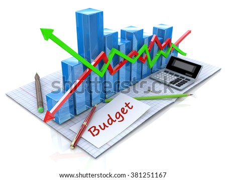 Business analysis, calculation of the budget in the design of information related to business - stock photo