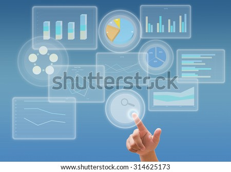 business analyze graph and working with touch screen technology - stock photo