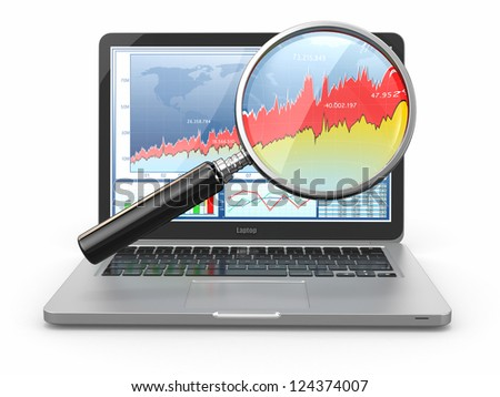 Business analyze. Laptop, loupe and diagram on screen. 3d - stock photo