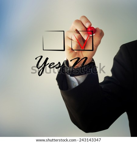 "Business and advertisement concept. Close up of businessman checking ""no"" box - stock photo"