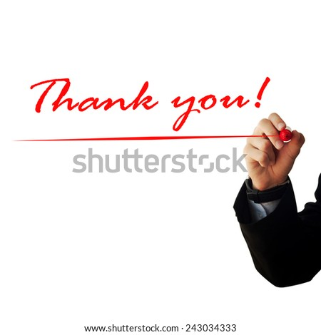 """Business and advertisement concept. Close up of businessman writing """"thank you"""" - stock photo"""
