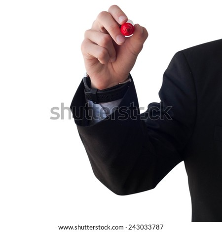 Business and advertisement concept. Close up of businessman writing to something - stock photo