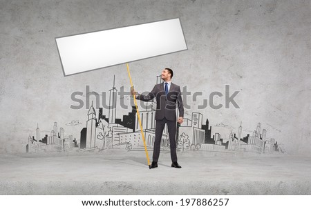 business and advertisement concept - smiling businessman holding white blank board - stock photo