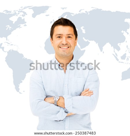 business and communication concept - handsome smiling man in casual shirt - stock photo