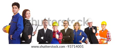 Business and construction team group with workers, architects and engineers - stock photo