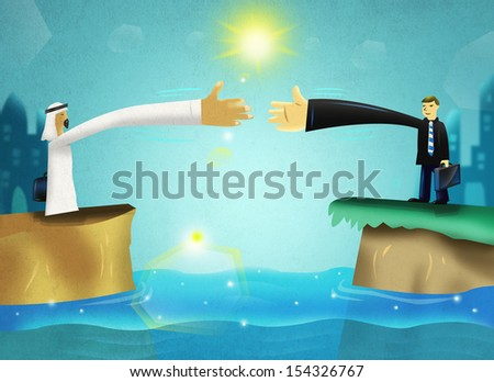 Business and Diplomacy Concept between Middle Eastern and Western or European Men. - stock photo