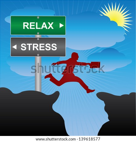 Business and Finance Concept Present By Jumping Through The Valley Gap With Green and Gray Street Sign Pointing to Relax and Stress in Blue Sky Background - stock photo