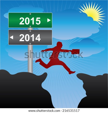 Business and Finance Concept Present By Jumping Through The Valley Gap With Green and Gray Street Sign Pointing to 2014 and 2015 in Blue Sky Background - stock photo