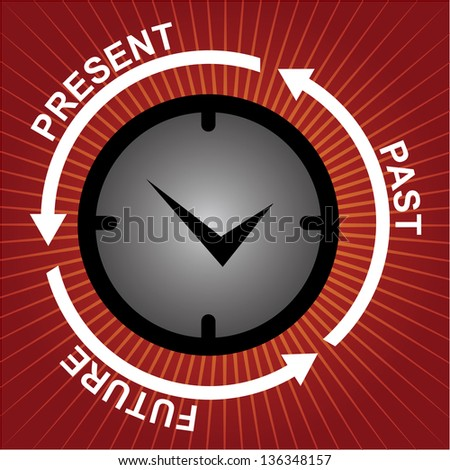Business and Finance or Time Management Concept Present By Clock With Present, Past and Future Arrow Around in Red Shiny Background - stock photo