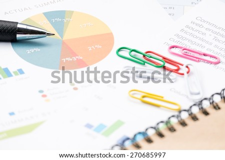 business and financial report with pen.Document is mockup  - stock photo