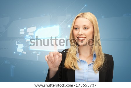 business and future technology concept - beautiful young businesswoman working with virtual screens - stock photo