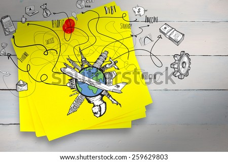 Business and global travel doodles against sticky note with red pushpin - stock photo