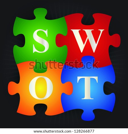 Business and Marketing Concept Present By Colorful SWOT Puzzle in Black Shiny Background - stock photo