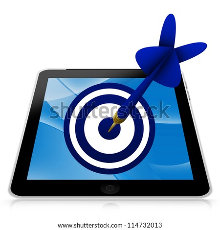 Business and Marketing Concept Present By Tablet PC With Blue 3d Arrow Hitting a Blue Target Isolated on White Background - stock photo
